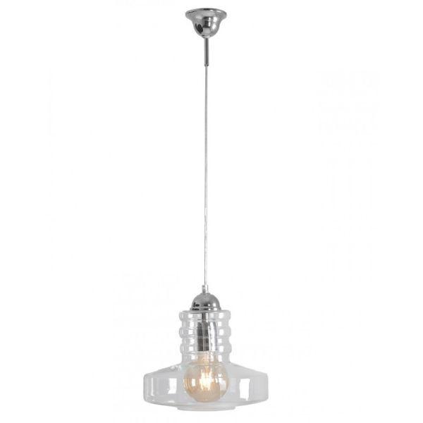 Bezbarwna lampa wisząca Electra - srebrne detale, nowoczesna