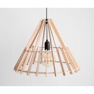 Skandynawska lampa wisząca Ferb - ażurowy, drewniany klosz