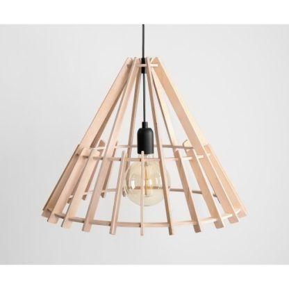ażurowa drewniana lampa wisząca