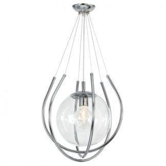 Szklana lampa wisząca From - kula w srebrnych oprawach
