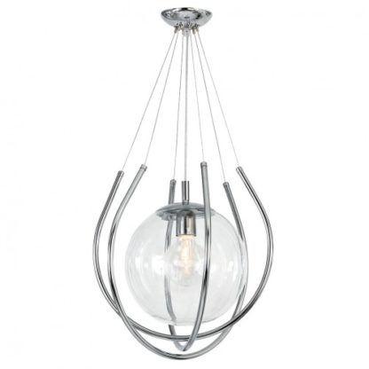 lampa wisząca srebrna ze szklaną kulą