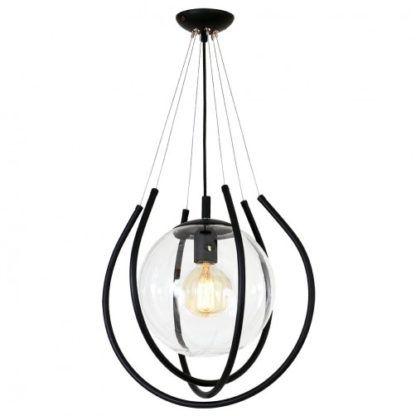 lampa wisząca czarna ze szklaną kulą