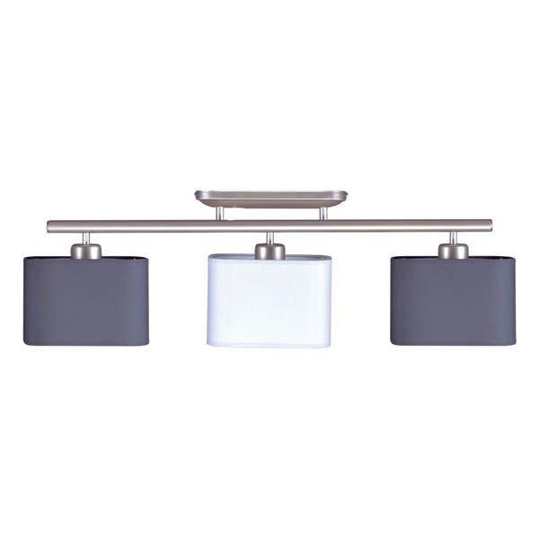 lampa sufitowa z białym i szarym abażurem