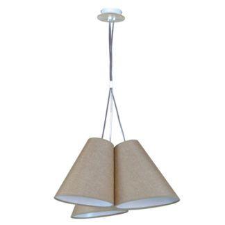 Nowoczesna lampa wisząca Argos Wood - 3 beżowe klosze