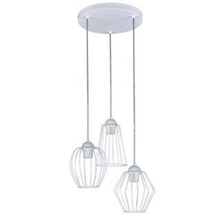 Skandynawska lampa wisząca Topper - 3 białe klosze z drutu
