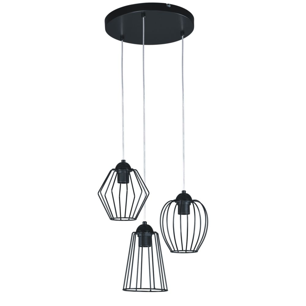 czarna lampa wisząca 3 klosze