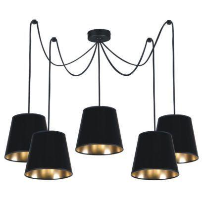 lampa wisząca pająk czarno-złote abażury