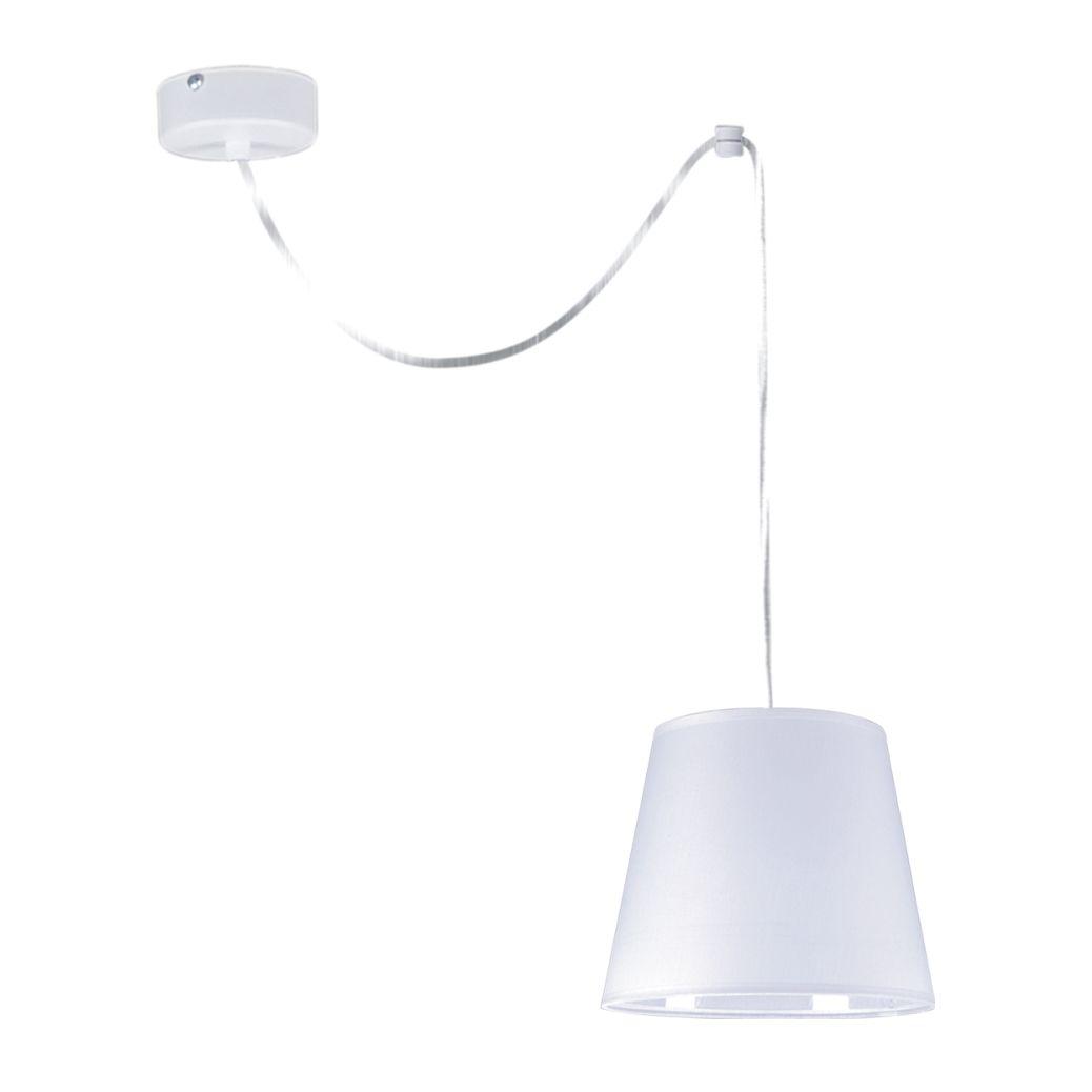 biała lampa wisząca nowoczesna z abażurem