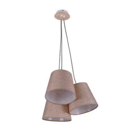 lampa wisząca z trzema beżowymi abażurami