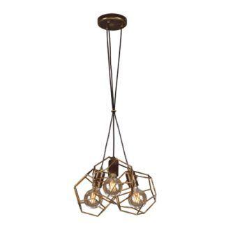 Oryginalna lampa wisząca Alicante - druciane klosze, brązowo-złota