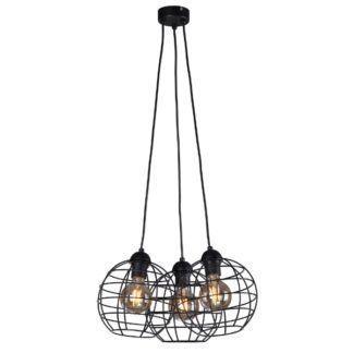 Czarna lampa wisząca Basket - 3 druciane klosze