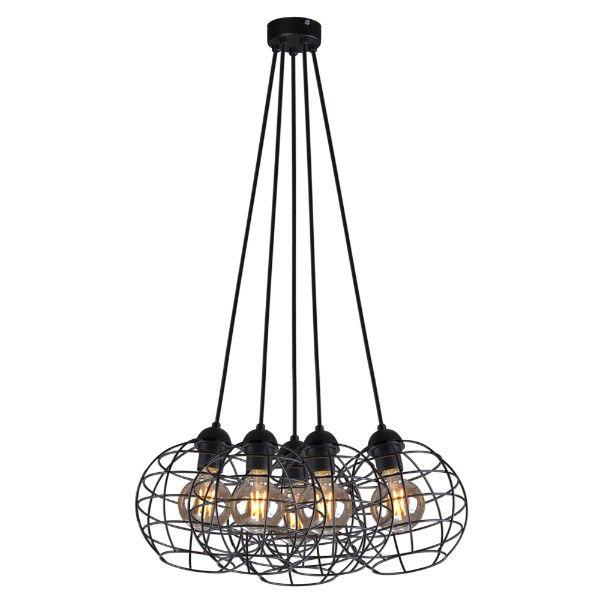 Czarna lampa wisząca Basket - 5 kloszy, metalowa