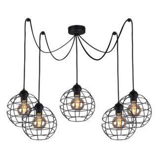Czarny żyrandol Basket - ażurowe klosze z metalu, industrialny