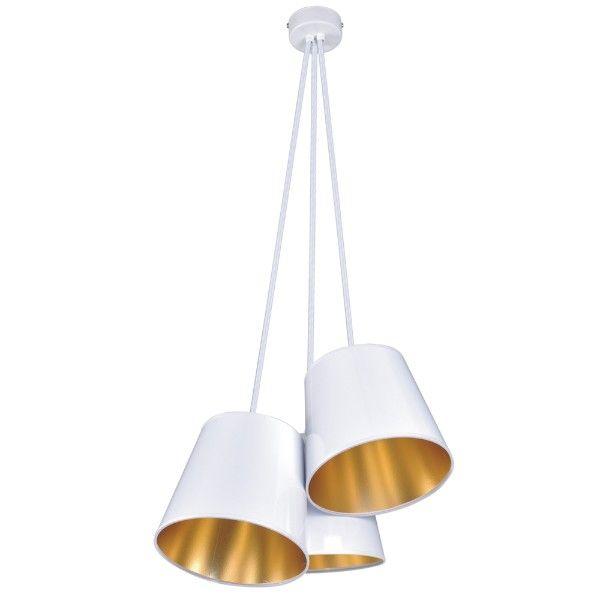 lampa wisząca z białymi abażurami złotymi w środku