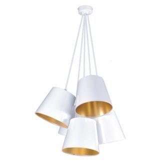 Biała lampa wisząca Pamela - białe abażury złote w środku