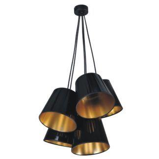 Czarno-złota lampa wisząca Pamela - 5 kloszy
