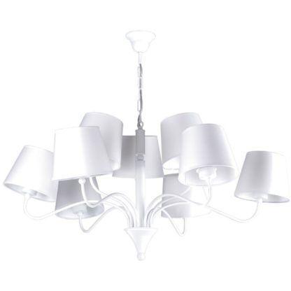 asymetryczny żyrandol z białymi abażurami
