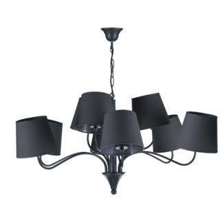 Nowoczesny żyrandol Siena - 9 czarnych abażurów
