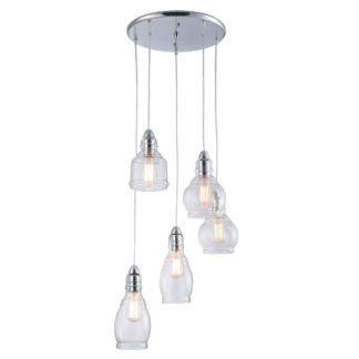 Szklana lampa wisząca Lavi - 5 kloszy, srebrna