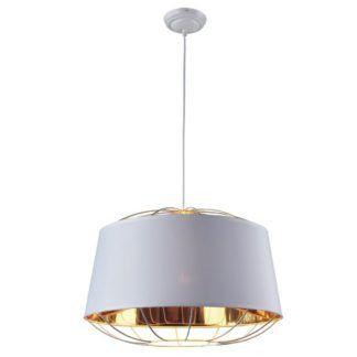 Duża lampa wisząca Pandora - biały klosz, złote detale