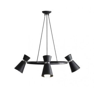 Okrągła lampa wisząca Kedar - regulowane klosze, czarna