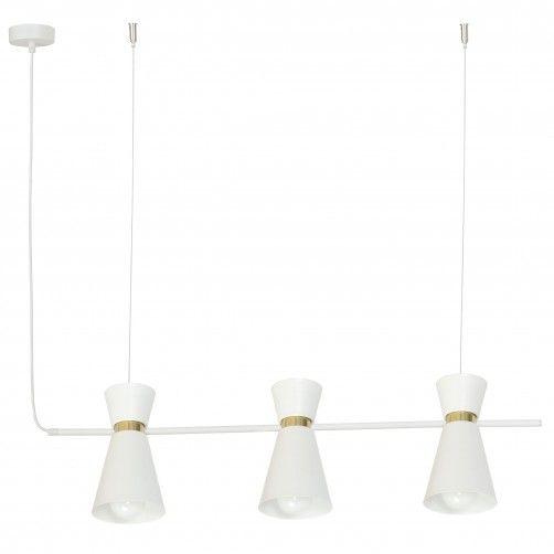 biała lampa wisząca ze złotymi detalami