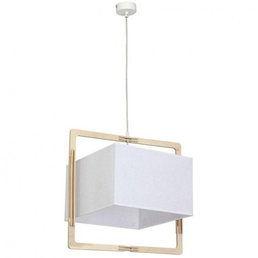 jasna lampa wisząca w drewnianej oprawie