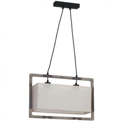 lampa wisząca z abażurem i drewnianą ramą