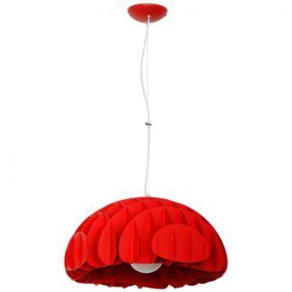 Designerska lampa wisząca Mak - czerwony, metalowy klosz