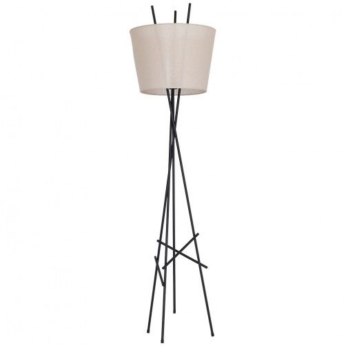 Geometryczna lampa podłogowa Martin - czarna podstawa, beżowy abażur