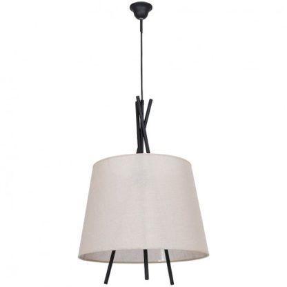 Oryginalna lampa wisząca Martin -  czarna, beżowy abażur