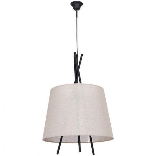 czarna lampa wisząca z beżowym abażurem