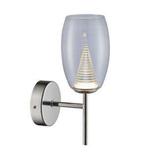 Szklany kinkiet Enzo - nowoczesny, srebrne ramię