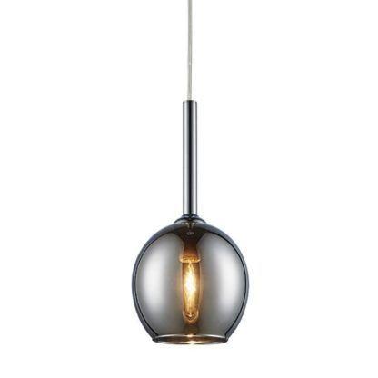 srebrna lampa wisząca ze szkła