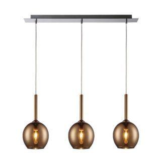 Szklana lampa wisząca Monic - 3 klosze, miedź