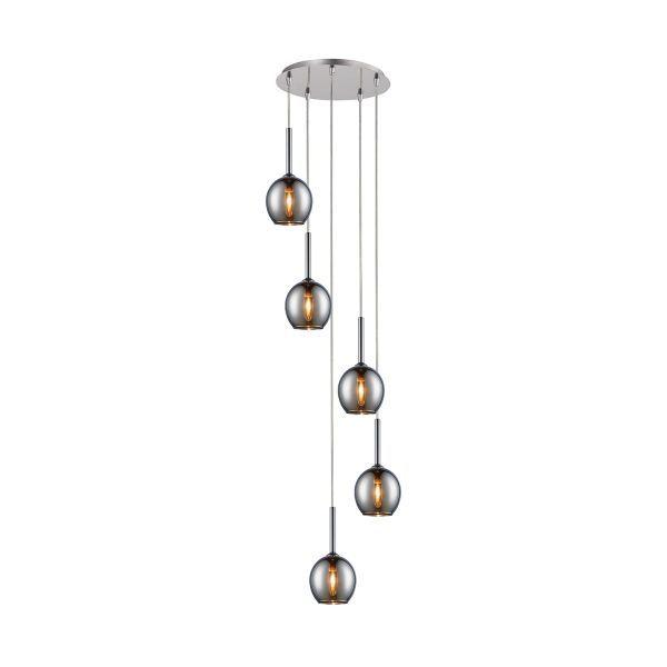 okrągła lampa wisząca z małymi kloszami