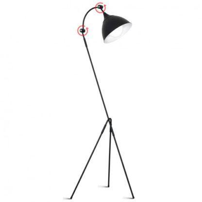 Regulowana lampa podłogowa Mekko - czarny trójnóg, metalowa