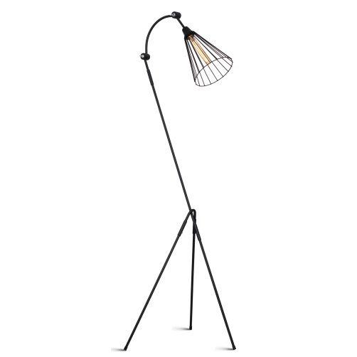 Designerska lampa podłogowa Nasto - druciany klosz, czarny mat