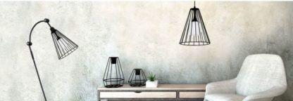 czarne druciane lampy aranżacja