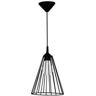 Czarna lampa wisząca Nasto - druciany klosz