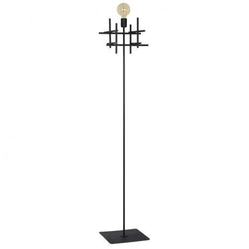 czarna metalowa lampa podłogowa