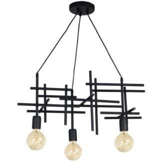 Designerska lampa wisząca Onuris - czarna, metalowa
