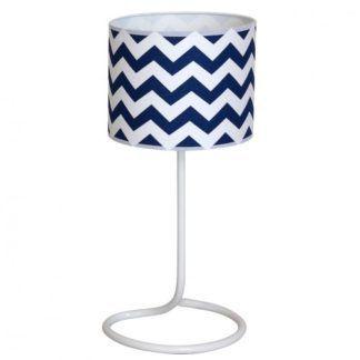 Stylowa lampa stołowa Roma Blue - biało-niebieski abażur
