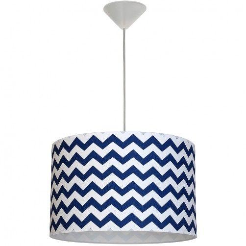 Nowoczesna lampa wisząca Roma Blue - biało-niebieski abażur