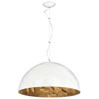 Biała lampa wisząca Simi - duży klosz złoty w środku