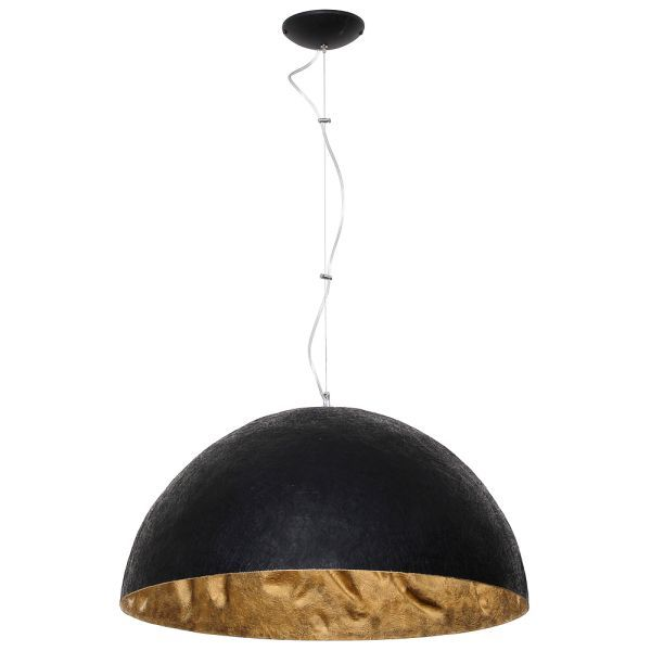 Czarna lampa wisząca Simi - klosz złoty w środku