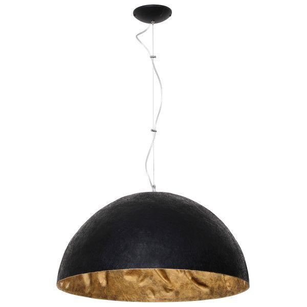 czarna lampa wiszaca duża półkula