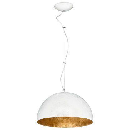Biała lampa wisząca Simi - klosz w kształcie półkuli