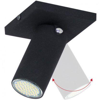 Czarny reflektor sufitowy Slim - matowy, regulacja klosza