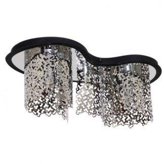 Lampa sufitowa Sokeri - srebrna, czarna podstawa